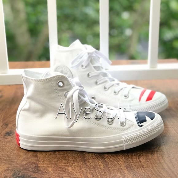 NWT Converse Ctas HI White Navy Red WMNS AUTHENTIC f23f8abd1